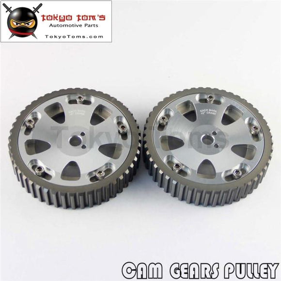 2Pcs Cam Gear Pulley Kit Fit For Mitsubishi Lancer Evo 1-9 Eclipse Dsm 4G63 Silver