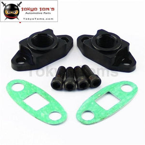 2Pcs Oil Drain Return Flange Adapter For T3 T4 Turbocharger An10 M8 X1.25 Bolt