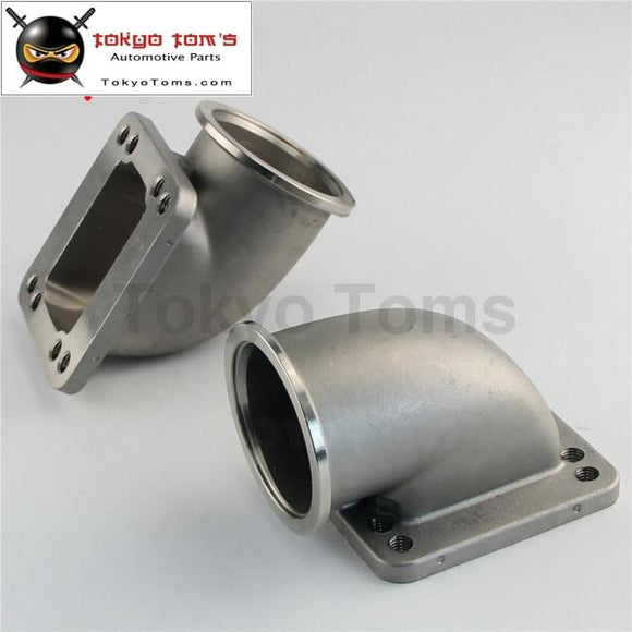 2Pcs Stainess Ss 2.5 Vband 90 Degree Cast Turbo Elbow Adapter Flange For T3 T4 Turbocharger Aluminum
