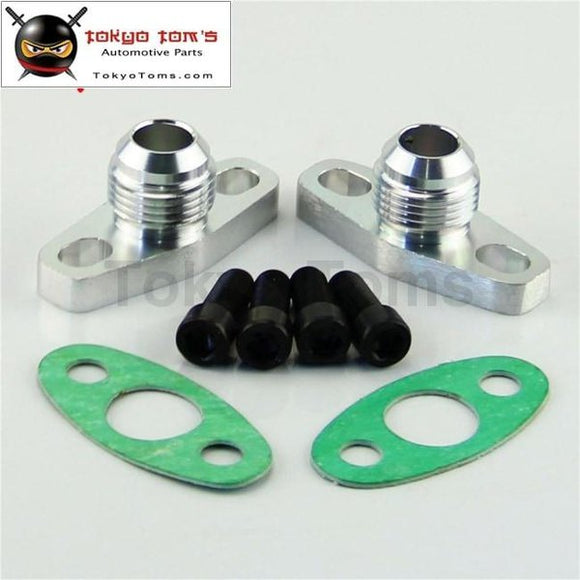 2Pcs10An Drain Gt T17 T20 T25 T28 T30 T35 Garrett Turbo Billet Oil Return Flange Black/silver