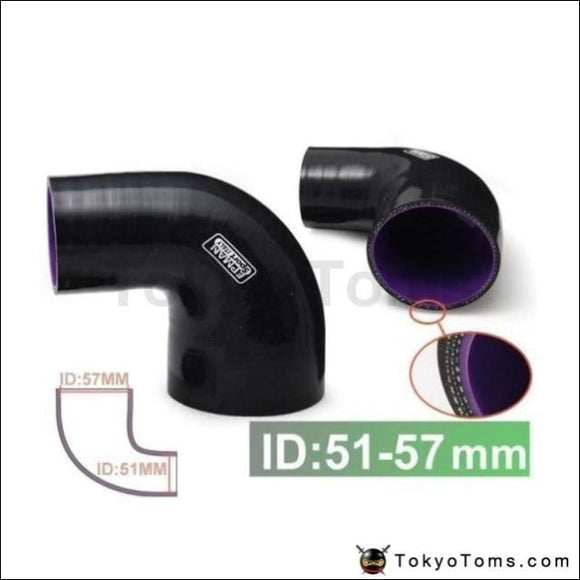 2To 2.25 51-57Mm 90Degree 4-Ply Silicone 90 Degree Elbow Reducer Hose Black For Audi A4 B6 1.8T