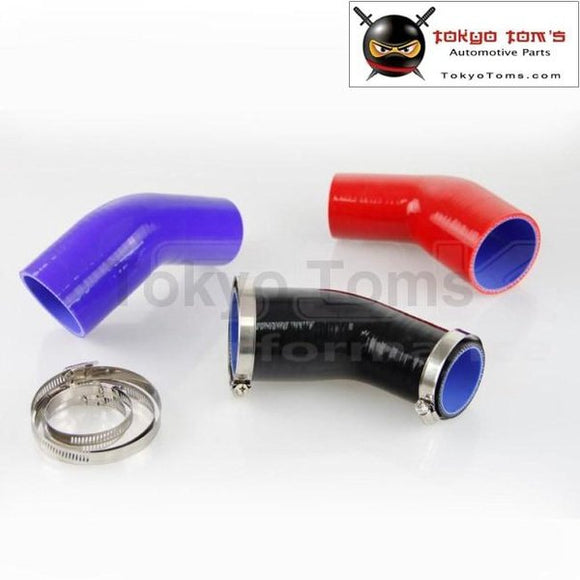 3.25 To 3 83Mm - 76Mm Silicone 45 Degree Elbow Reducer Pipe Hose+Clamps