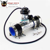 30 Psi Adjustable Turbo Blow Off Valve +Type Rs 2.25 Flange Pipe Adapter Kit Black / Blue Silver