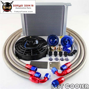 30 Row 10An Universal Engine Transmission Oil Cooler Kit + 7 Electric Fan Kit
