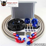 "30 Row 10An Universal Engine Transmission Oil Cooler Kit + 7"" Electric Fan Kit"