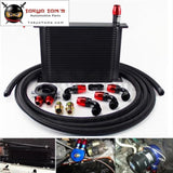 30 Row 248mm AN10 Universal Engine Oil Cooler British Type+M20Xp1.5 / 3/4 X 16 Filter Relocation+3M AN10 Oil Line Kit  Black