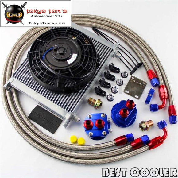 30 Row -8An An8 Engine Transmission Oil Cooler + 7 Electric Fan Kit