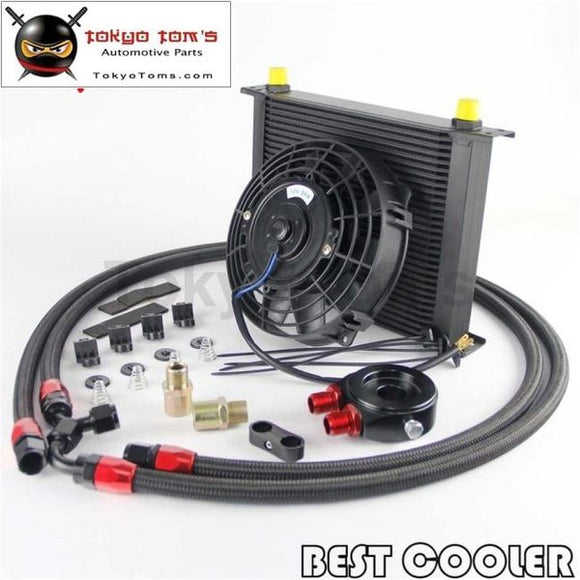 30 Rows An8 Engine Oil Cooler + Flat Filter Adapter +7 Electric Fan Kit