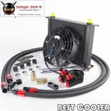 30 Rows An8 Oil Cooler +7 Electric Fan + Filter Adapter Kit Black