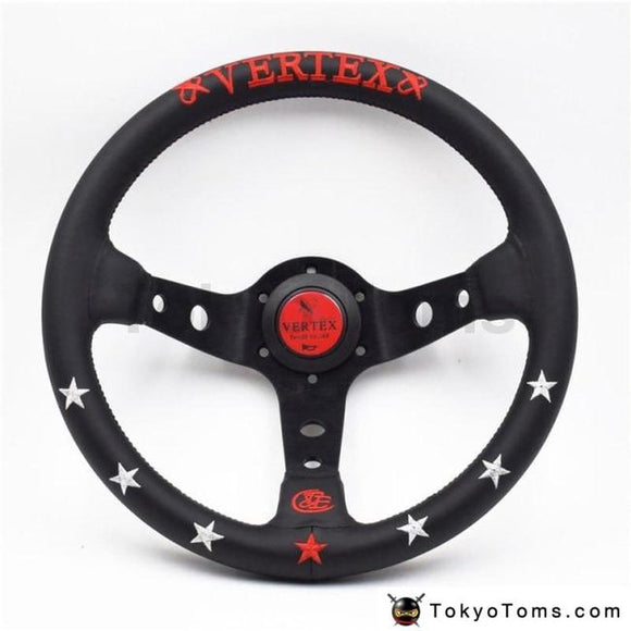 330Mm/13Inch Vertex Leather Deep Dish Modified Steering Wheel Car Racing Performance Tuning Sports