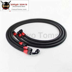 3Pcs 10An Nylon Steel Braided Oil Fuel Line Cooler Filter Relocate Hose Kit Black / Silver