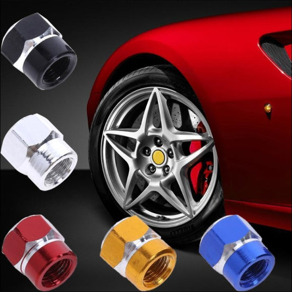 4 Pcs Universal Aluminum Auto Bicycle Car Tire Valve Caps Tyre Wheel Hexagonal Ventile Air Stems