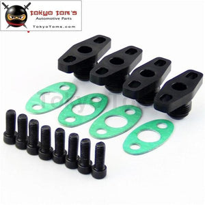 4Pcs10An Drain Gt T17 T20 T25 T28 T30 T35 Garrett Turbo Billet Oil Return Flange Black/silver