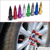 4Pcs/set Spike Shape Auto Bicycle Tire Valve Cap Stem Caps Wheel Rims Lug Nuts