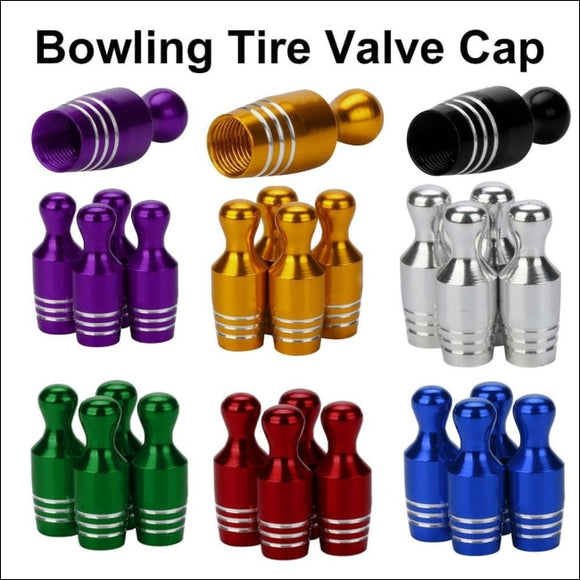 4X Aluminum Bullet Car Truck Cover Bowling Tire Rim Valve Wheel Stem Caps Exterior Parts