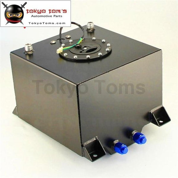 5 Gallon 18.8L Black Coated Aluminum Racing Drift Fuel Cell Tank + Level Sender / Silver