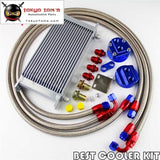 50Mm 19 Row An-8/an8 Engine Transmission Oil Cooler + Filter Relocation Kit Bl