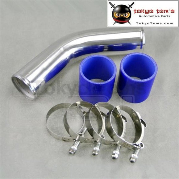 50Mm 2 45 Degree Aluminum Turbo Intercooler Pipe Piping+Silicon Hose Blue+ T Bolt Clamps Piping