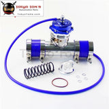 50Mm 35Psi Boost V-Band Turbo Blow Off Valve Bov + 2.25 Flange Pipe Hose Kit Blue/ Black