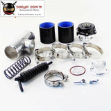 50Mm 35Psi Boost V-Band Turbo Blow Off Valve Bov + 2.36 Flange Pipe Hose Kit Blue/ Black