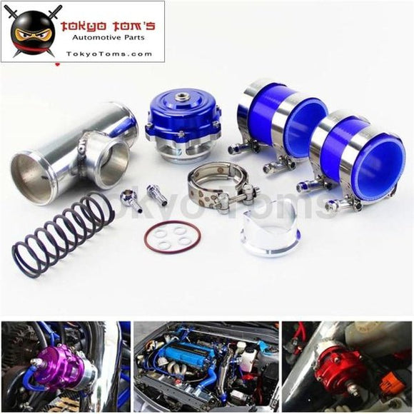 50Mm 35Psi Boost V-Band Turbo Blow Off Valve Bov + 2.5 Flange Pipe Hose Kit Blue/ Black