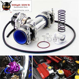 50Mm 35Psi Boost V-Band Turbo Blow Off Valve Bov + 2.75 Flange Pipe Hose Kit Blue/ Black