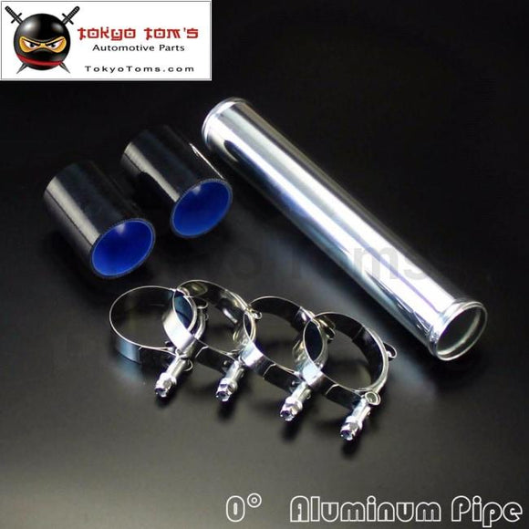 51Mm 2 Aluminum Turbo Intercooler Pipe Piping Tubing + Silicon Hose T Bolt Clamps Kits Black Kits