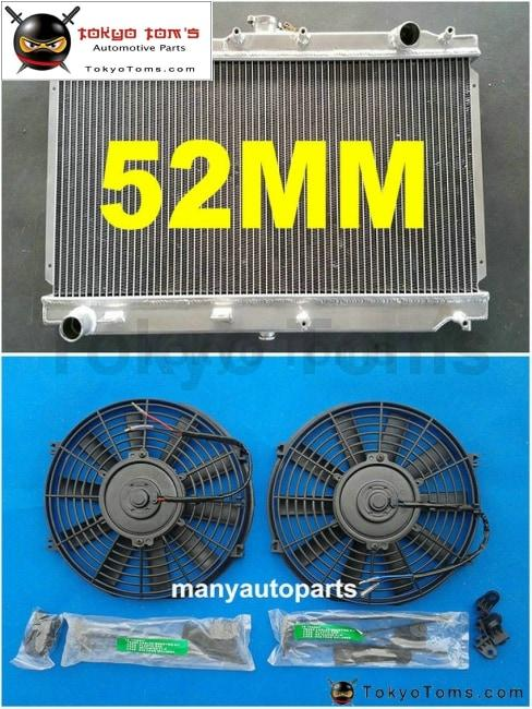 52Mm Aluminum Radiator + Fan For Mazda Miata Mx5 99-05 Mt 00 01 02 03 04
