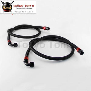 55 / 63 10An Nylon Steel Braided Oil Filter Hose Fuel Line W/ Fittings Black Silver