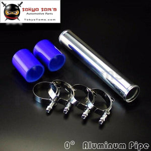 57Mm 2.25 Aluminum Turbo Intercooler Pipe Piping Tubing + Silicon Hose Blue T Bolt Clamps Kits