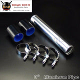 57Mm 2.25 Aluminum Turbo Intercooler Pipe Piping Tubing + Silicon Hose +T Bolt Clamps Kits Black