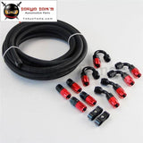 5M An4 Stainless Steel Braided/nylon Braided Hose+Fitting Hose End Adaptor Kit Silver/black