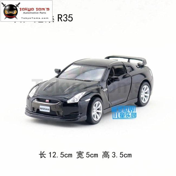 5Pcs/lot Wholesale Yj 1/36 Scale Car Model Toys Japan Nissan R35 Diecast Metal Pull Back Toy Black