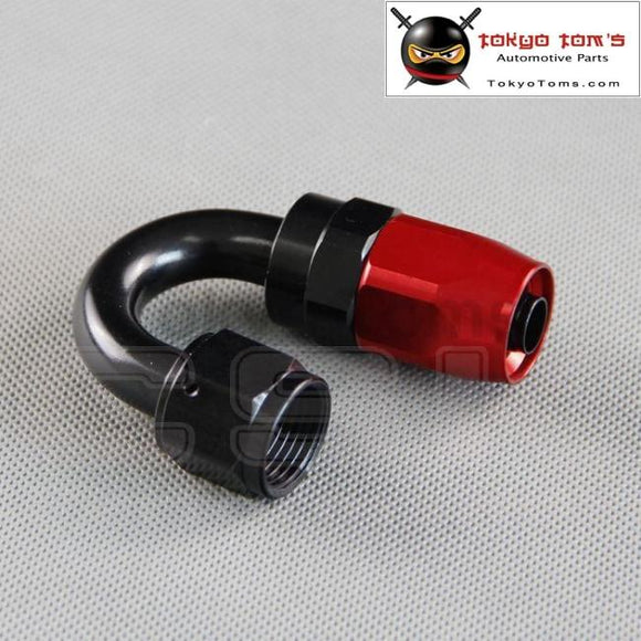 6 An An-6 180 Degree Aluminum Swivel Hose End Fitting Adapter Oil Fuel Line Black And Red