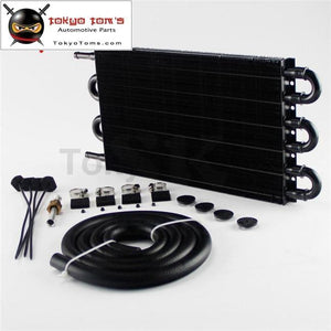 6 Row Radiator Remote Aluminum Transmission Oil Cooler + Hose / Mounting Kit Bk
