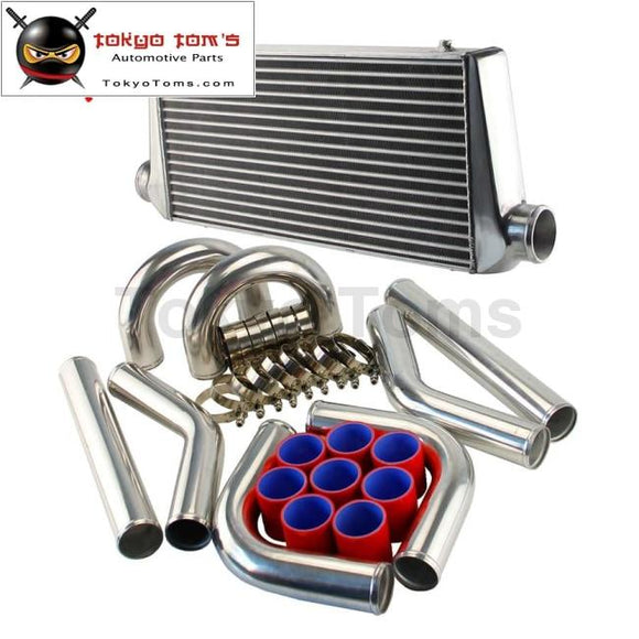 600Mm*300Mm*76Mm Front Mount Turbo Intercooler + 3 Aluminum Piping Hose Clamps Kit Black/blue/red