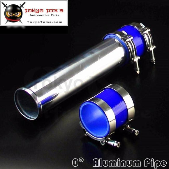 60Mm 2.36 Aluminum Turbo Intercooler Pipe Piping Tubing + Silicon Hose T Bolt Clamps Kits Blue