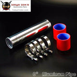"60mm 2.36"" Aluminum Turbo Intercooler Pipe Piping Tubing + Silicon Hose + T Bolt Clamps Kits Red"