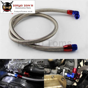 63 Inch An10 Stainless Steel/ Nylon Braided Oil/fuel Line Hose W/ Adapter Kit Silver/black