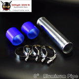 63Mm 2.5 Aluminum Turbo Intercooler Pipe Piping Tubing + Silicon Hose T Bolt Clamps Kits Blue