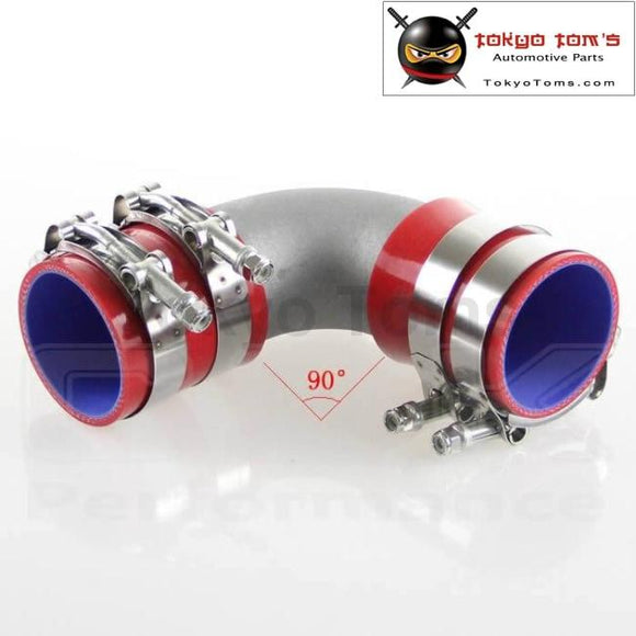 63Mm 2.5 Cast Aluminum 90 Degree Elbow Pipe Turbo Intercooler+ Silicone Hose Kit Red Piping
