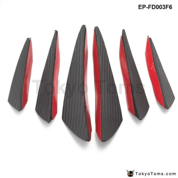 6Pcs/lot Car Carbon Fiber Front Bumper Splitter Fins Body Spoiler Canards Valance Chin Exterior
