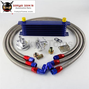 7 Row 262Mm An10 Universal Engine Transmission Oil Cooler Trust Type + Filter Adapter Kit