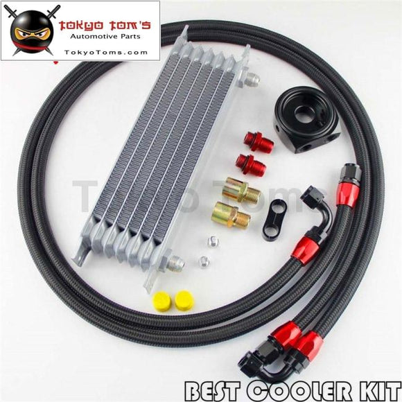 7 Row An-8 Engine Trust Oil Cooler + 8An Filter Adapter Nylon Steel Hose Kit