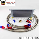 7 Row An-8 Engine Trust Oil Cooler + 8An Filter Adapter Stainess /steel Hose Kit