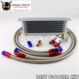 7 Row An-8 Trust Oil Cooler + 3/4*16 & M20*1.5 Filter Adapter Ss Hose Kit