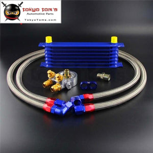 7 Row An10 Engine Racing Trust Oil Cooler W/ Thermostat Filter Adapter Kit Black/gold/blue