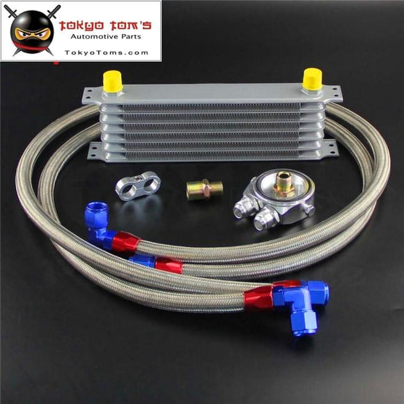 7 Row An10 Oil Cooler + 3/4*16& M20*1.5 Filter Adapter Hose Kit For Japan Car
