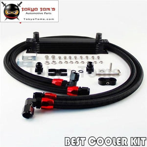 7 Row An10 Oil Cooler Kit For Bmw E36 E46 E82 E90 E92 E93 Black
