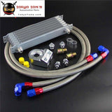 7 Row An10 Universal Trust Oil Cooler + 3/4*16 & M20*1.5 Filter Adapter Hose Kit
